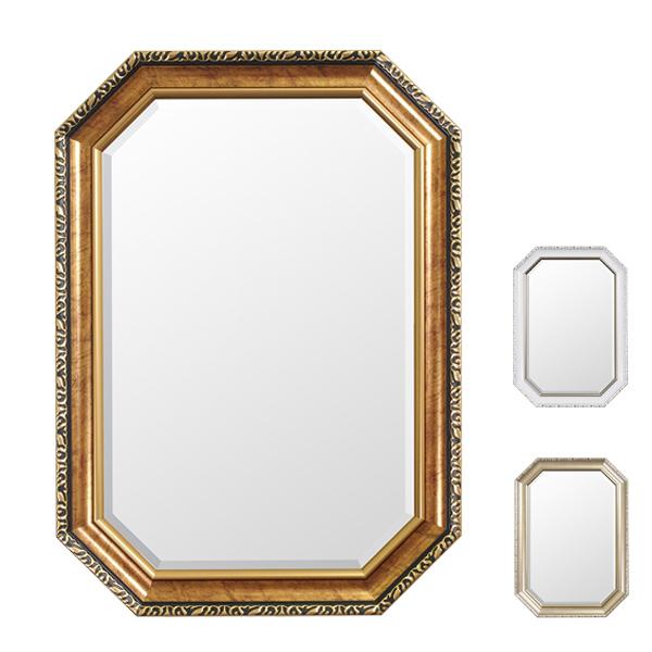 ウォールミラー 壁掛けミラー クラシック調 高さ70cm ( 送料無料 壁掛け ミラー 鏡 姿見 アンティーク 吊り鏡 壁掛け鏡 日本製 国産 完成品 八角形 ゴールド ホワイト シルバー 70cm 70 )