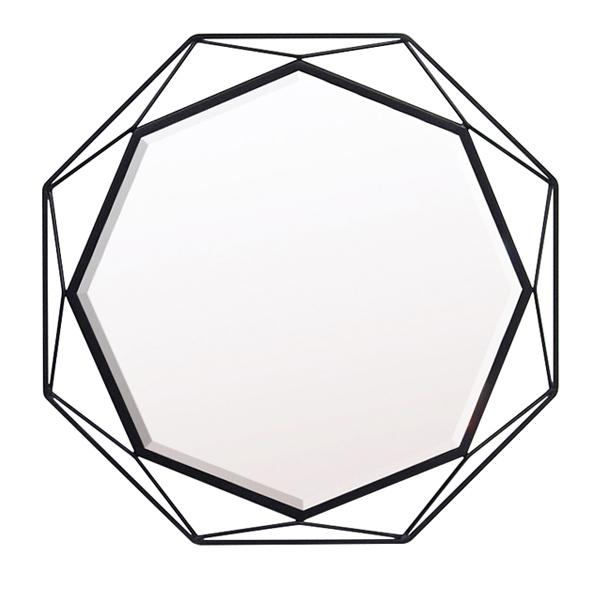 ウォールミラー 八角形 3Dアイアンフレーム GEM-S 幅50cm ( 送料無料 鏡 ミラー 壁掛け アイアン 壁掛けミラー 壁面ミラー 姿見 吊り鏡 壁掛け鏡 かがみ カガミ )