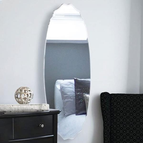 ウォールミラー 楕円形 姿見 ノンフレーム 面取り加工 高さ120cm 鏡 壁掛け ( 送料無料 ミラー 壁掛けミラー かがみ カガミ おしゃれ 飛散防止 フレームなし オーバル型 壁 玄関 洗面所 リビング トイレ 壁面 日本製 )