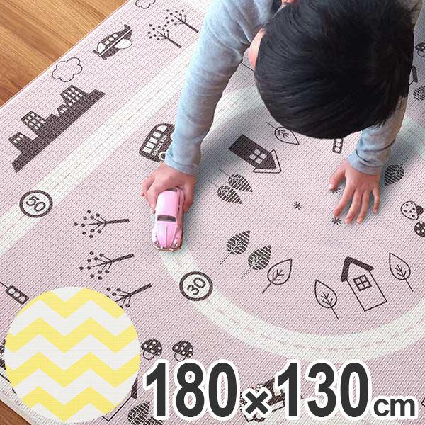 プレイマット 180×130cm ふかふかマット リバーシブル ( 送料無料 フロアマット ベビー ルームマット 厚手 道路 北欧 1.5畳 赤ちゃん 子ども キッズ マット 子ども部屋 )