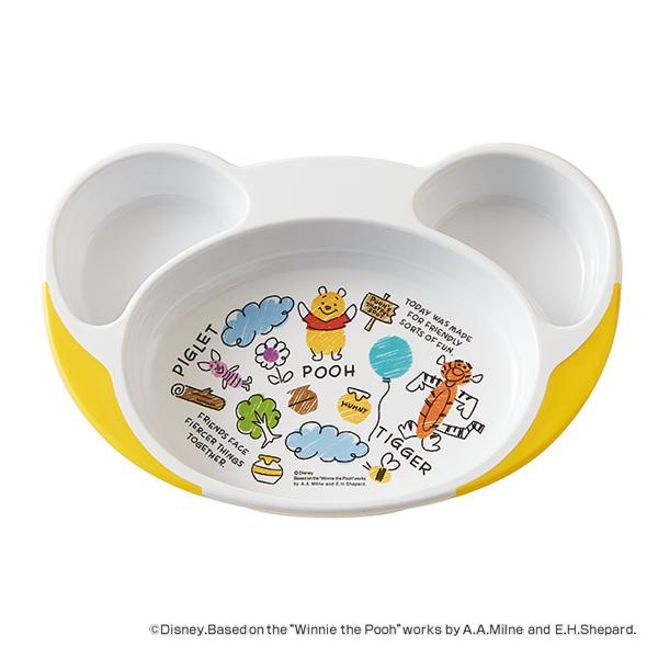 食べ物がすくいやすいランチ皿 ランチプレート 23cm POOHスケッチ ランチ皿 食器 ディズニー 限定特価 キャラクター 電子レンジ対応 仕切り皿 プーさん 人気の製品 すくいやすい ベビー食器 7ヶ月 食洗機対応 赤ちゃん