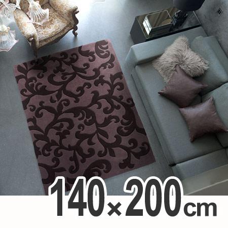 ラグ スミノエ 床暖房対応カーペット カラクサ 140×200cm ( 送料無料 ラグマット ホットカーペット対応 重厚感 センターラグ リビング パープル 紫色 )