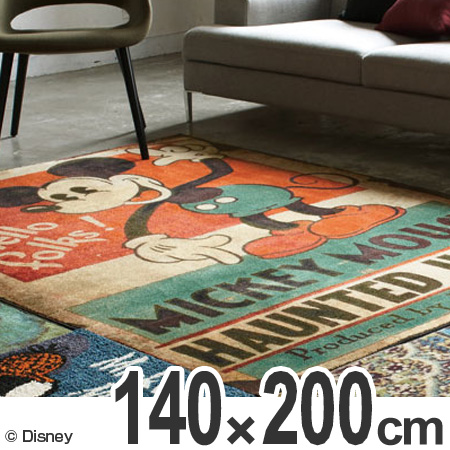 ラグ カーペット スミノエ ミッキー ホーンテッドハウス 140×200cm ( 送料無料 ラグマット センターラグ 絨毯 じゅうたん 防ダニ 床暖房対応 ディズニー キャラクター リビング Disney  )