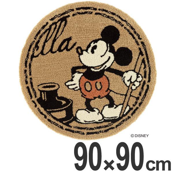 ラグ スミノエ ミッキー スタンプラグ 90×90cm ( 送料無料 ディズニー カーペット 絨毯 ミッキーマウス Disney キャラクター 円形 丸形 マット ラグマット ホットカーペット対応 ホットカーペットカバー 床暖房 )