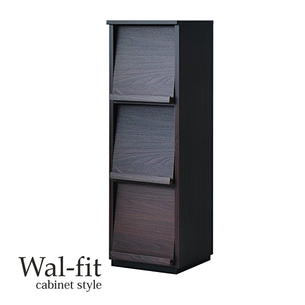 ディスプレイラック ウォルフィット フラップ扉付き 1列3段 ブラウン ( 送料無料 本棚 A4ファイル収納 書棚 収納棚 多目的ラック シェルフ 積み重ね 木製 )