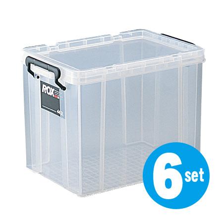 収納ボックス クローゼット用 ロックス 440L 6個セット( フタ付き キャスター取付可 送料無料 収納ケース 押入れ収納 プラスチック 衣装ケース 積み重ね スタッキング 工具箱 )