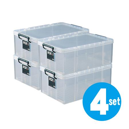 収納ボックス 押入れ用 ロックス 660M 4個セット ( 衣装ケース 工具箱 送料無料 フタ付き 収納ケース プラスチック 蓋付 積み重ね スタッキング 衣類収納 キャスター取付可 )