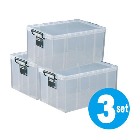 収納ボックス・押入れ用 ロックス 660L 3個セット ( 衣装ケース 工具箱 フタ付き プラスチック ディープタイプ 送料無料 収納ケース 蓋付 積み重ね スタッキング 衣類収納 キャスター取付可 収納庫 )