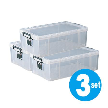 収納ボックス 押入れ用 ロックス 740M 3個セット ( 衣装ケース 工具箱 送料無料 フタ付き 収納ケース プラスチック 蓋付 積み重ね スタッキング 衣類収納 キャスター取付可 )