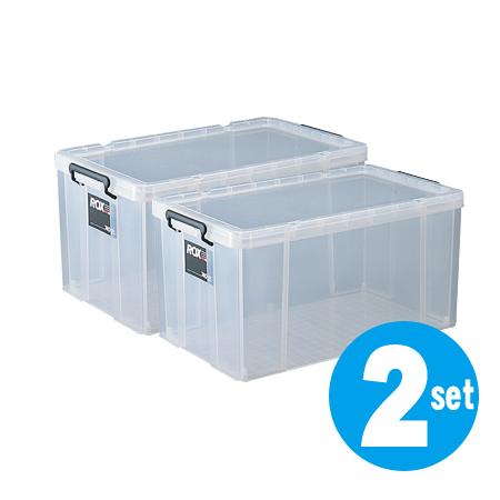 収納ボックス・押入れ用 ロックス 740-2L 2個セット ( 衣装ケース 工具箱 送料無料 フタ付き プラスチック ベッド下 ロングタイプ 収納ケース 蓋付 積み重ね スタッキング 衣類収納 キャスター取付可 収納庫 )