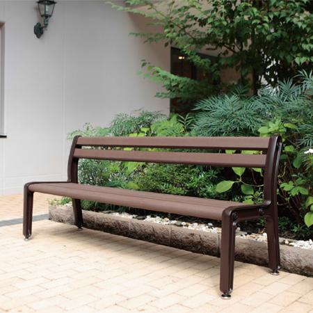 樹脂ベンチ 背付 3~4人用 リサイクルウッド製 ラウル ( 送料無料 長椅子 業務用 )