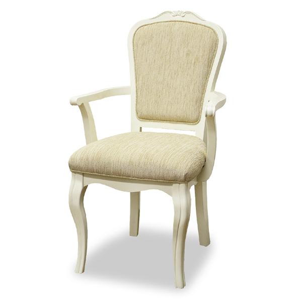 アームチェア 椅子 ロココ調 ロマンチック リモージュ 座面高45cm ( 送料無料 ダイニング チェア アームチェアー 肘掛け ダイニングチェア 姫系 イス チェアー 白 ガーリー ホワイト 女の子 女子 おしゃれ かわいい 白家具 )
