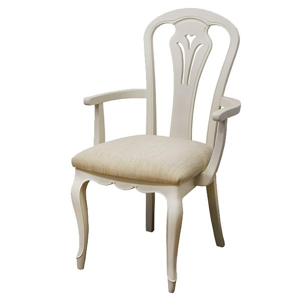 アームチェア 椅子 木製 クラシック調 フルール 座面高45cm ( 送料無料 チェア チェアー いす イス ダイニングチェアー 開梱設置 開梱設置無料 天然木 肘付き 肘掛けあり 猫脚 白家具 )