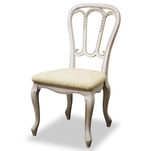 ダイニングチェア 椅子 クラシック調 猫脚 メゾン 座面高45cm ( 送料無料 イス いす チェアー チェア 天然木 マホガニー 木製 開梱設置無料 開梱設置 ホワイト 姫系 )