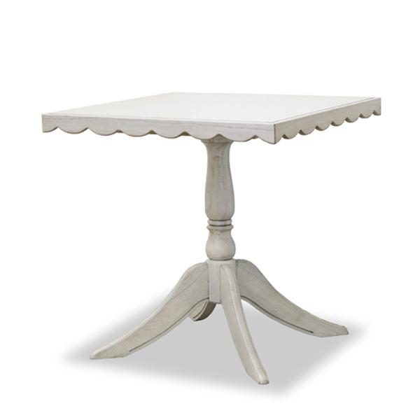 ダイニングテーブル 食卓 クラシック調 メゾン 70cm角 ( 送料無料 コーヒーテーブル サイドテーブル リビングテーブル 天然木 木製 開梱設置無料 開梱設置 ホワイト 姫系 )