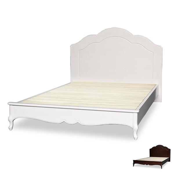 セミダブルベッド クラシック調 猫脚 フルール 約幅130cm ( 送料無料 ベッド セミダブル すのこ ベット スノコ ベッドフレーム 木製 白家具 セミダブルサイズ アンティーク風 )