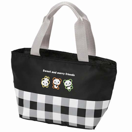 With Cool Lunch Bag るんるん Panda Check Black Cold Storage Ice Pack