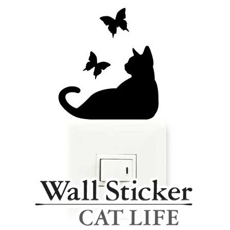 毎日何気なく見ている場所にカワイイ猫の姿を生み出すステッカー 壁紙シール インテリアシール ウォールシール Wall story 安い コンセント ウォールステッカー 猫 スイッチ デコレーションステッカー LIFE 国内在庫 CAT シール 壁 蝶 デコレーションシール