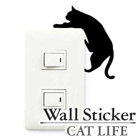 毎日何気なく見ている場所にカワイイ猫の姿を生み出すステッカー 壁紙シール 絶品 インテリアシール ウォールシール Wall story コンセント 最新号掲載アイテム ウォールステッカー 猫 壁 CAT デコレーションステッカー 落ちそう スイッチ LIFE デコレーションシール シール