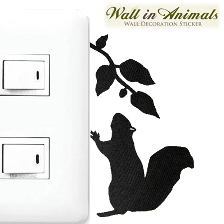 Livingut Wall Sticker Wallpaper Seal Squirrel 2 Wall In Animals - Vinyl-decals-to-decorate-light-switches-and-outlets