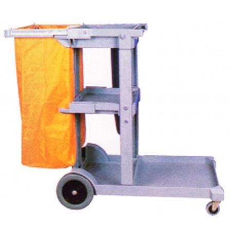 清掃用カート 樹脂製フレーム ツールカート C006 グレー ( 送料無料 業務用 カート 台車 運搬 収納 掃除用具 大型商業施設 公共施設 )
