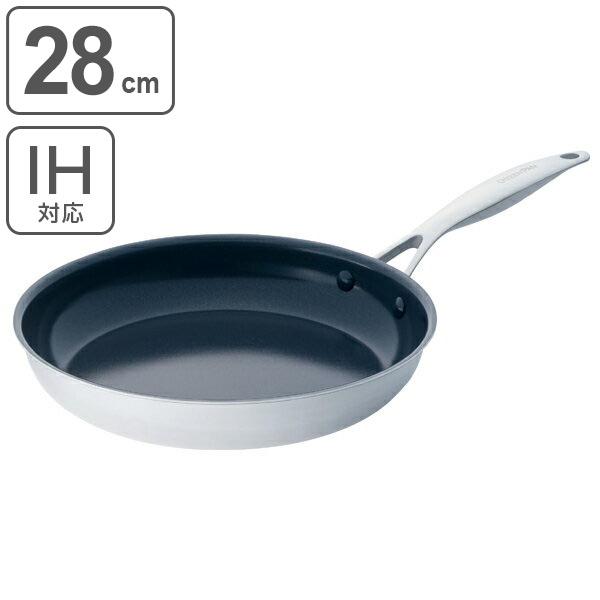 GREEN PAN グリーンパン フライパン 28cm ヴェニスプロ ステンレス エバーシャイン IH対応 ( 送料無料 ガス火対応 浅型フライパン 炒め鍋 28センチ オーブン対応 アルミフライパン 軽量 いため鍋 調理器具 オール熱源対応 )