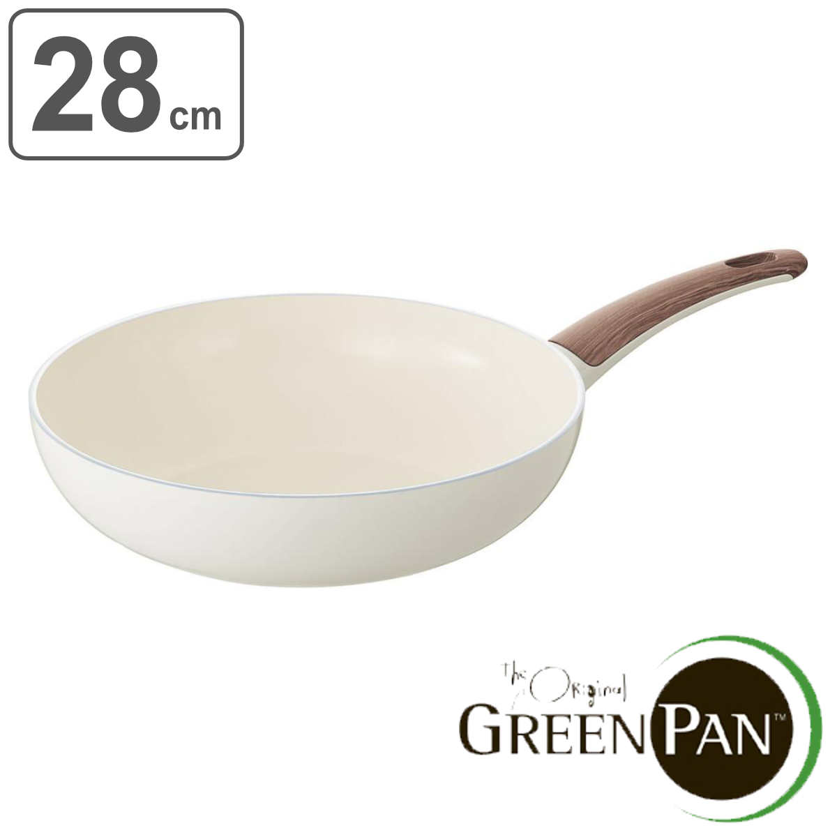 GREEN PAN グリーンパン ウォックパン 28cm WOOD-BE ウッドビー ダイヤモンド粒子配合 IH対応 ( 送料無料 ガス火対応 フライパン 深型フライパン 28センチ オーブン対応 炒め鍋 いため鍋 調理器具 オール熱源対応 )