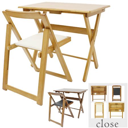 デスクセット 折りたたみデスク・イスセット 折り畳み収納 ( 送料無料 机 チェア パソコンデスク 木製 椅子 チェアー ワークデスク )