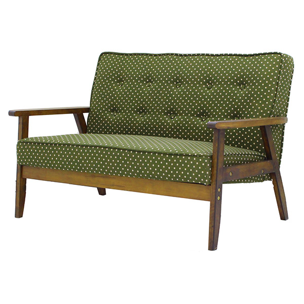 ソファ 2人掛け 椅子 ロージー ドットグリーン 布張り ( 送料無料 レトロ ラブソファ レトロ イス チェア 木製 Rosie )