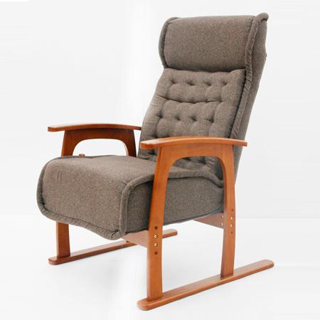 リクライニングチェア コイル式座椅子 布張り ブラウン ( 送料無料 リラックスチェアー ゆったり 無段階リクライニング ソファ 1人掛け )