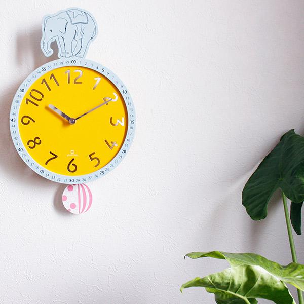 振り子時計 ヤマト工芸 yamato クロック 動物 ゾウ 壁掛け ( 送料無料 壁時計 壁掛け時計 インテリア 時計 クロック ウッドクロック 知育時計 アナログ 分表示 見やすい 子ども部屋 サーカス ゾウ 練習 かわいい )