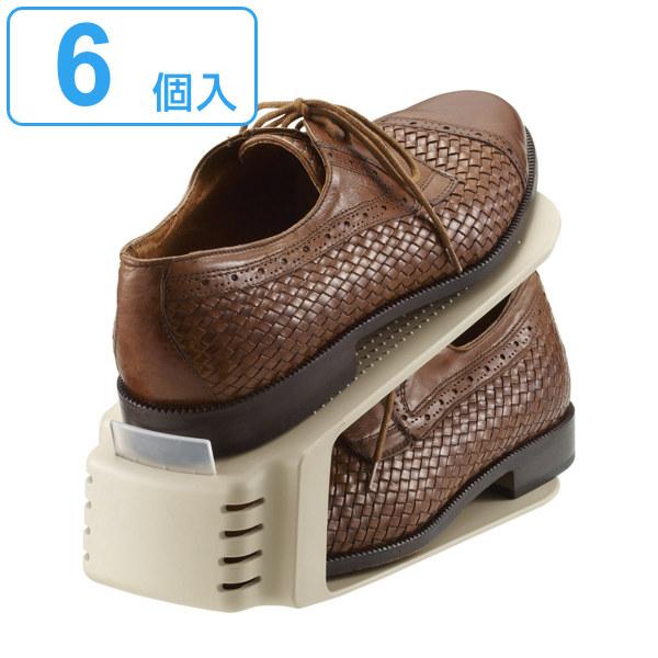 下駄箱内の収納力が2倍にアップする靴ホルダー 靴ホルダー シューズラック シューズボックス 靴 セットアップ 激安通販ショッピング 収納 くつホルダー 6個セット シューズキーパー 下駄箱 2 靴収納スペース1 靴箱 整理 玄関