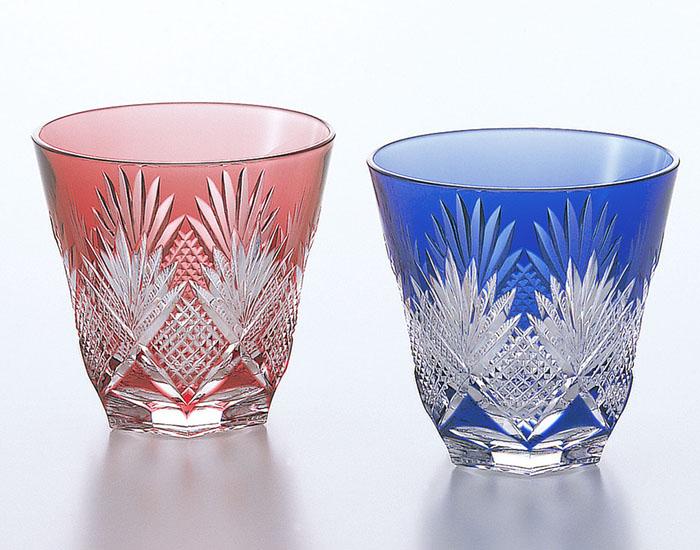 カガミクリスタル KAGAMI CRYSTAL #2278 ペア 江戸切子 冷酒杯 赤青 140cc 木箱入り