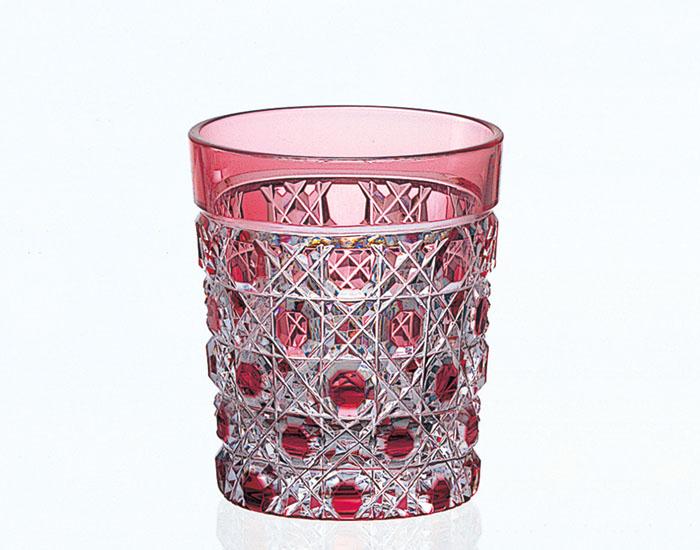 カガミクリスタル KAGAMI CRYSTAL T590-1-CAU 江戸切子 冷酒杯 赤 60cc T590-1-CAU 木箱入り 冷酒グラス 〈八角籠目 紋〉