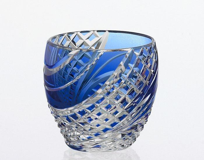 カガミクリスタル KAGAMI CRYSTAL T535-2044-CCB 江戸切子 冷酒杯 青 60cc 木箱入り 冷酒グラス 〈魚子流し 紋〉