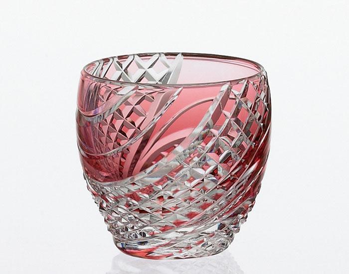 カガミクリスタル KAGAMI CRYSTAL T535-2044-CAU 江戸切子 冷酒杯 赤 60cc 木箱入り 冷酒グラス 〈魚子流し 紋〉