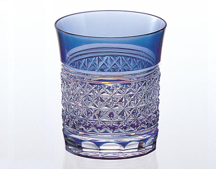 カガミクリスタル KAGAMI CRYSTAL T542-1441-CCB 江戸切子 ロックグラス <青> 250cc 木箱入り <麻の葉 紋>
