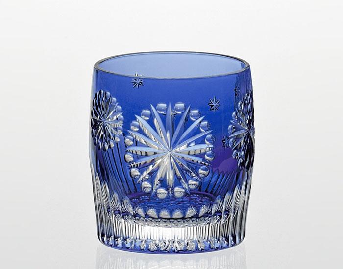 カガミクリスタル KAGAMI CRYSTAL 江戸切子 冷酒杯 <花火> 120cc T485-2712-CCB 伝統工芸士 鍋谷淳一氏作 木箱入り