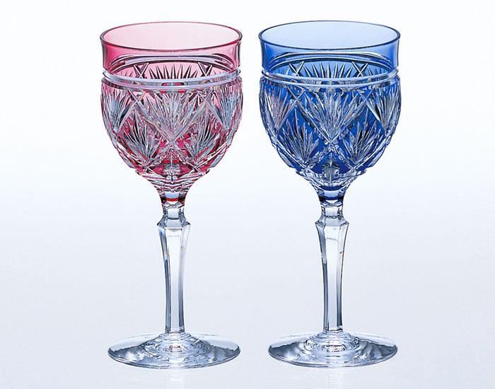 カガミクリスタル KAGAMI CRYSTAL #2620 ペア ワイングラス 江戸切子 笹っ葉 紋 170cc 木箱入り