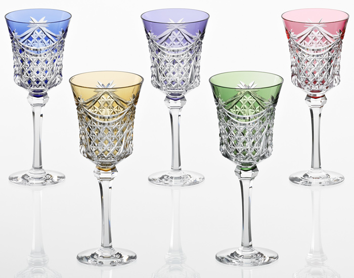 カガミクリスタル KAGAMI CRYSTAL ワイングラス 5本セット 江戸切子 幕襞に四角籠目 紋 170cc KP3602-2835-5 木箱入り