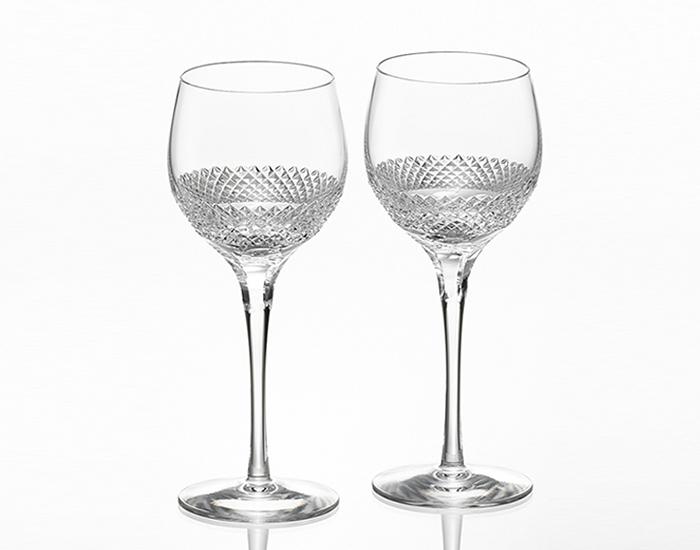 名入れグラス 代引き不可 結婚の御祝 カガミクリスタル KAGAMI CRYSTAL 特選切子 ペアワイングラス <帯> KWP84-2901 レリーフ エッチング 名入れ 彫刻 刻印料込み グラス名入れ
