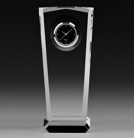カガミクリスタル KAGAMI CRYSTAL Q458 オプティカルクロック 置時計 H21.5cm