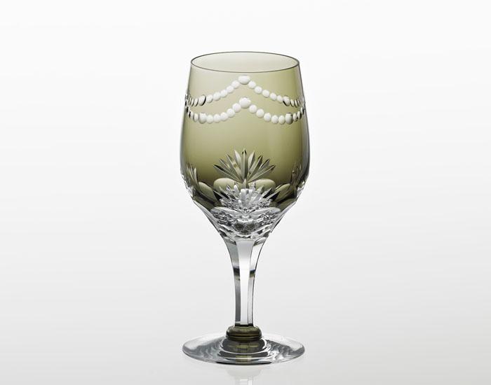 カガミクリスタル KAGAMI CRYSTAL ワイングラス 江戸切子 KW272-2761-BLK <華>シリーズ 万両 木箱入り