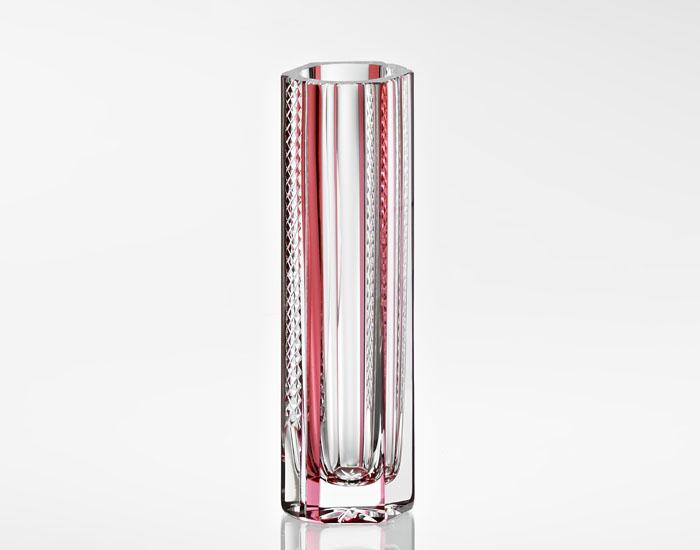 【カガミクリスタル】花瓶 一輪挿し H19cm F489-2789-CAU <平面彩> 伝統工芸士 林克美氏作 木箱入り