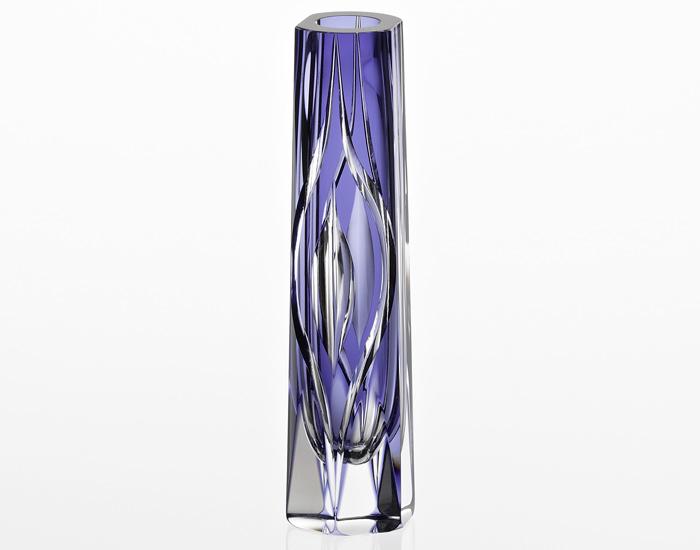 カガミクリスタル KAGAMI CRYSTAL 花瓶 一輪挿し <雫> H22cm F528-2833-CMP 伝統工芸士 根本達也氏作 木箱入り