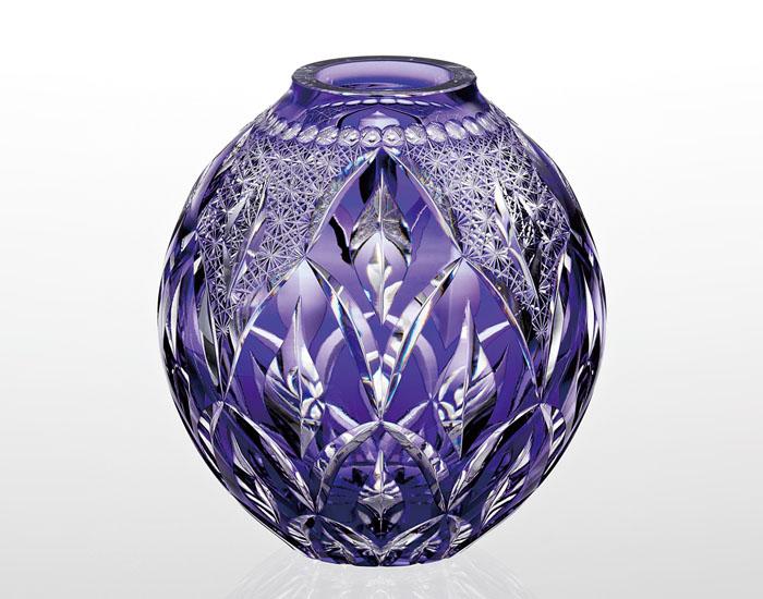 【カガミクリスタル】花瓶 花器 H18.5cm 伝統工芸士 根本達也氏作 木箱入り F798-2718-CMP