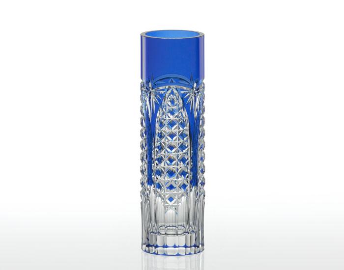 【カガミクリスタル】花瓶 一輪挿し <笹っ葉に四角籠目 紋> 木箱入り H19cm F489-2627-CCB