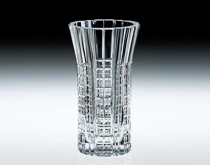 【カガミクリスタル】クリスタル花瓶 花瓶 ベ-ス H27cm F450-584 化粧箱入り
