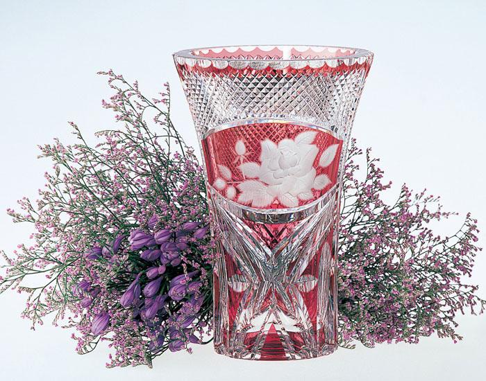 【カガミクリスタル】花瓶 花器 H23.5cm ケース入り F461-1306-CAU