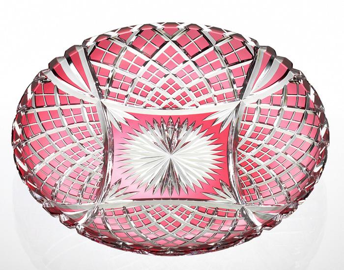 カガミクリスタル KAGAMI CRYSTAL D556-2680-CAU 飾り皿 江戸切子 径280mm <八来重 紋> ケース入り 皿立て付